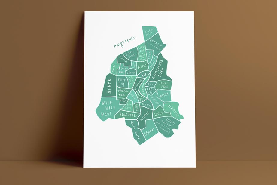 Poster Karte Magdeburg
