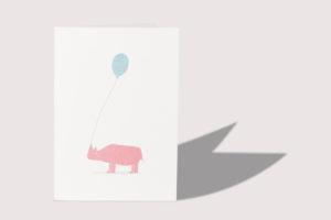topographic Illustration Grußkarte Nashorn mit Ballon