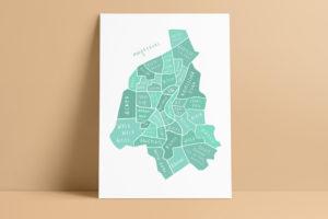 topographic Illustration Stadtplan Magdeburg